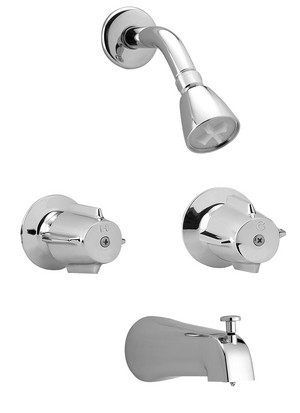 Two Handle Tub & Shower Trim, Slip on Diverter Spout P4V-830C